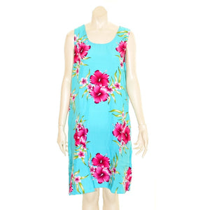 Island Tye Dye Tank Dress (110440) ~ Sky Blue/Fuschia