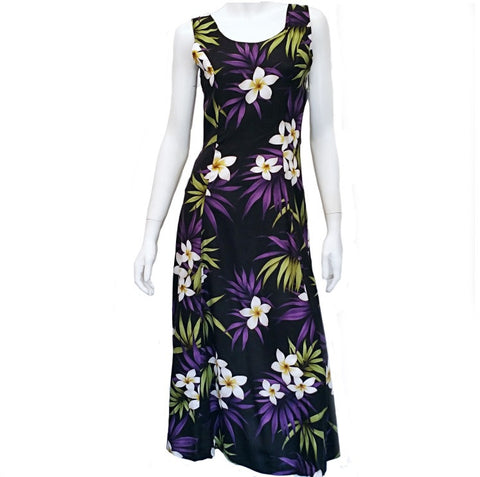 Plumeria Cluster Sylvia Sleeveless Back Tie Long Dress ~ Black