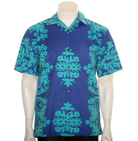 Ulu Men's Hawaiian Shirt ~ Royal/Teal