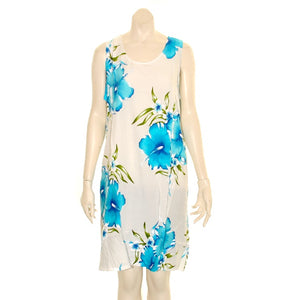 Island Tye Dye Tank Dress (110440) ~ White/Sky Blue