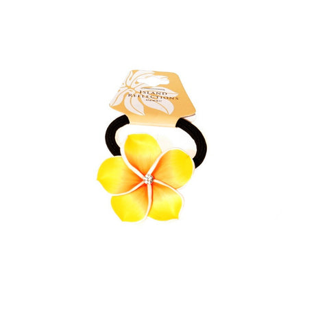 Yellow Plumeria Fimo Ponytail Hair Tie