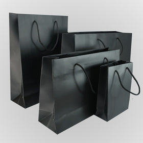 Black Matt Laminated Carrier Bags Rope Handle