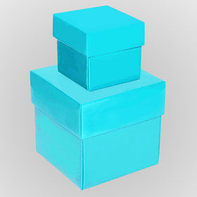 Turquoise Blue Square Matt Laminated Gift Boxes - 2 Pieces