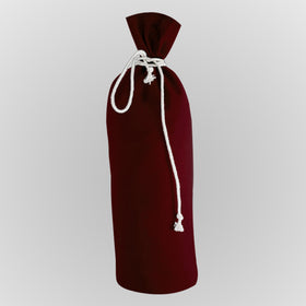 Burgundy Canvas Bottle Drawstring Pouch Bags