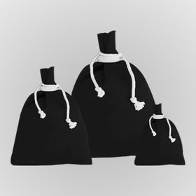 Black Canvas Drawstring Pouch Bags