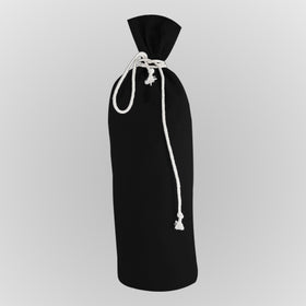 Black Canvas Bottle Drawstring Pouch Bags