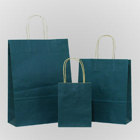 Dark Blue Brown Twisted Handle Paper Carrier Bags