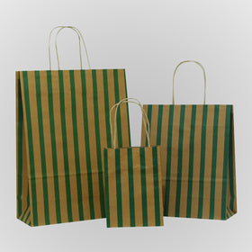 Stripes Green Brown Carrier Bag Twisted Handle