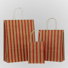 Stripes Red Twisted Handle Brown Paper Carrier Bags