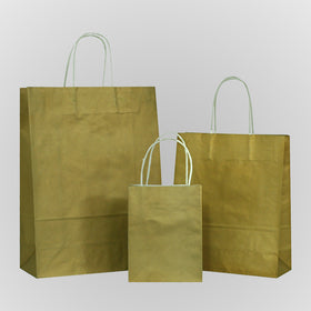 Solid Gold Carrier Bag Twisted Handle