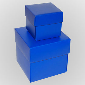 Royal Blue Square Matt Laminated Gift Boxes - 2 Pieces