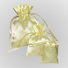 Beige Color Satin Drawstring Pouch Gift Bags