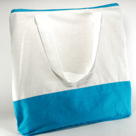 White Dark Blue Natural Cotton Two Colour Bags