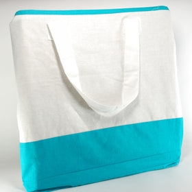 White Turquoise Blue Natural Cotton Two Colour Bags