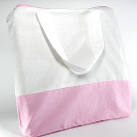 White Light Pink Natural Cotton Two Colour Bags