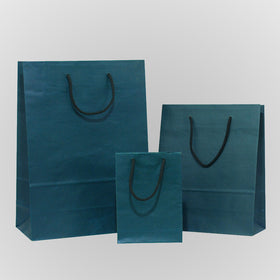 Solid Dark Blue Brown Carrier Bags Rope Handle