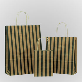 Stripes Black Twisted Handle Brown Paper Carrier Bags
