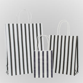 Stripes Black Carrier Bag Twisted Handle