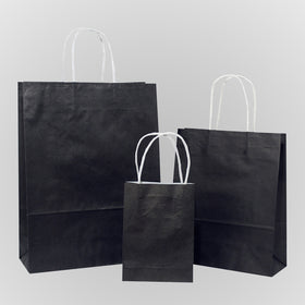Solid Black Carrier Bag Twisted Handle