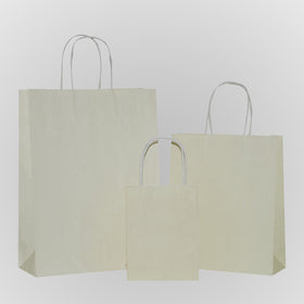 Solid Ivory Carrier Bag Twisted Handle