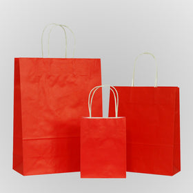 Solid Red Carrier Bag Twisted Handle