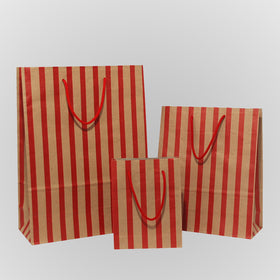 Stripes Red Brown Carrier Bags Rope Handle