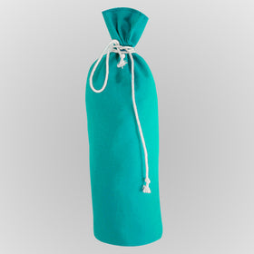 Turquoise Blue Canvas Bottle Drawstring Pouch Bags