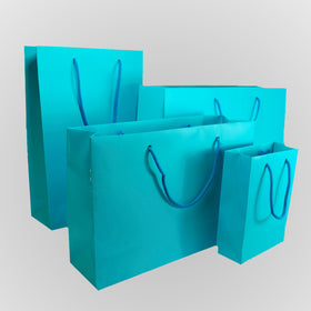 Turquoise Blue Matt Laminated Carrier Bags Rope Handle
