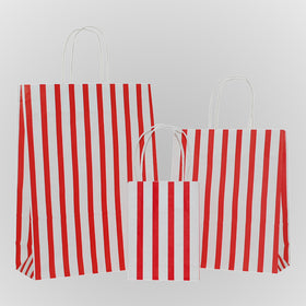 Stripes Red Carrier Bag Twisted Handle