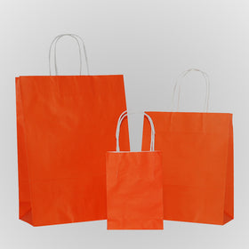 Solid Orange Carrier Bag Twisted Handle