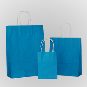 Turquoise Blue Carrier Bag Twisted Handle