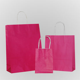 Solid Hot Pink Carrier Bag Twisted Handle