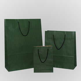 Solid Dark Green Brown Carrier Bag Rope Handle