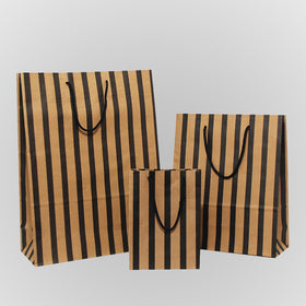 Stripes Black Brown Carrier Bags Rope handle
