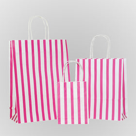 Stripes Hot Pink Carrier Bag Twisted Handle