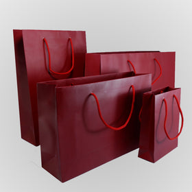 Burgundy Matt Laminated Carrier Bags Rope Handle