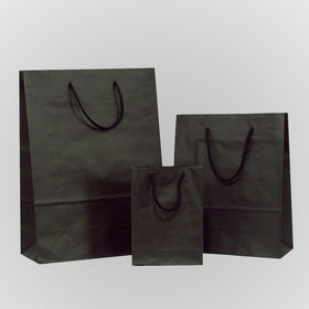 Solid Black Brown Carrier Bags Rope Handle