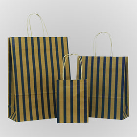 Stripes Blue Twisted Handle Brown Paper Carrier Bags