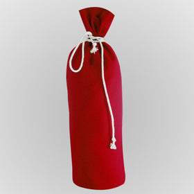 Red Canvas Bottle Drawstring Pouch Bags