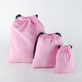 Light Pink Natural Cotton Drawstring Pouch Bags