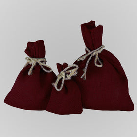 Burgundy Jute Drawstring Pouch Bags
