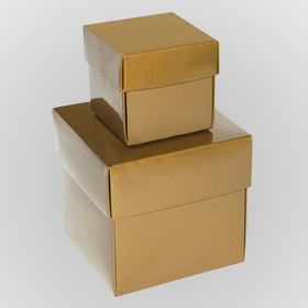 Gold Square Gloss Laminated Gift Boxes - 2 Pieces