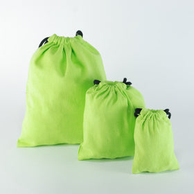 Green Natural Cotton Drawstring Pouch Bags