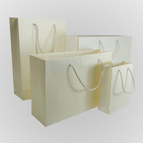 Ivory Matt Laminated Carrier Bags Rope Handle