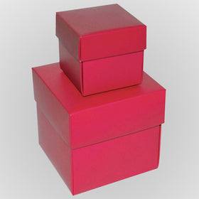 Hot Pink Square Matt Laminated Gift Boxes - 2 Pieces