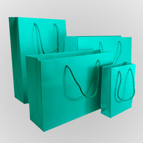 Aqua Green Matt Laminated Carrier Bags Rope Handle
