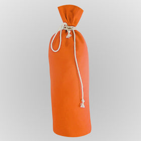 Orange Canvas Bottle Drawstring Pouch Bags
