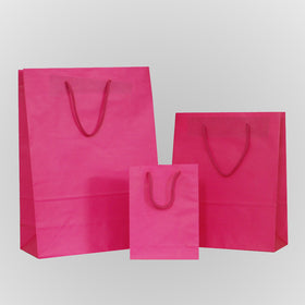 Solid Hot Pink Carrier Bag Rope Handle