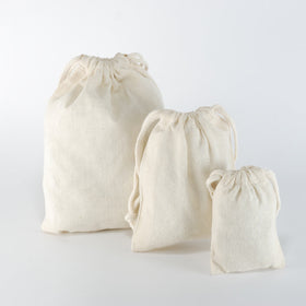 Plain Natural Cotton Drawstring Pouch Bags