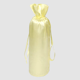 Beige Color Satin Bottle Drawstring Gift Bags